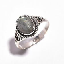 925 Sterling Silver Ring Size UK L 1/4, Natural Labradorite Women Jewelry R4359