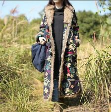Winter ethnic Fur Lining Maxi Long Women Jackets Parka Floral Outwear Coat Robe