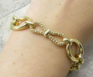 Gold Over 925 Silver - Traditional Pebbled Bow Adjustable Chain Bracelet BT1030