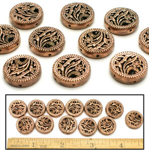 """5/8"""" SOLID COPPER Bali Style FANCY Filigree LG FLORAL Lentil 2-HOLE Beads 12pc"""