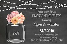 Engagement Mason Jar Invite Party Invitation Rustic Chalk Modern Wedding