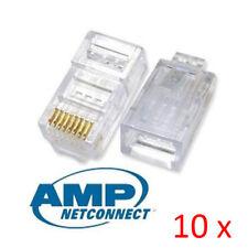 10pcs AMP Tyco Cat5e RJ45 8P8C Ethernet Network Modular Connector Plug