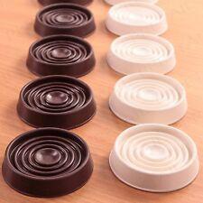 4 x LARGE RUBBER NON SLIP CASTOR CUPS WHITE / BROWN Floor/Wood/Laminate/Feet/Cap