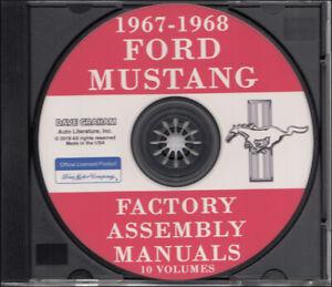 1967-1968 Ford MUSTANG Montaje Manual Juego De 10 On CD Cuerpo Chasis Eléctrico