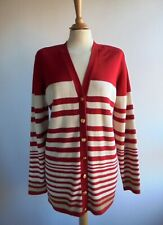 VIYELLA Red Gold Cardigan Top with Shoulder Pads Cotton Silk Size M UK 14 16