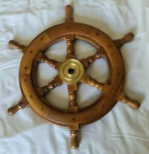 Wooden/ Brass Ships Wheel 46cm wide, Excellent condition!