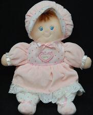 "Baby Doll Pink White Brown Hair Blue Eyes Stars Kids Preferred Plush 12"" Toy"