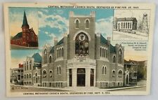1913 PC Central Methodist Church Destroyed by Fire Hot Springs Arkansas PC