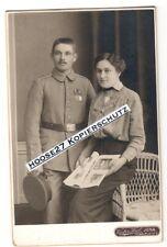Foto Angehöriger IR 94 EK2 Medaille Reuss Braut Jena CDV 1.WK 16,5x10,5cm orig.