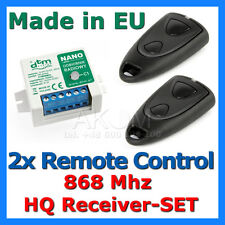 Radio Receiver with 2 Remote Controls for Garage Doors & Gates Operators 868 Mhz