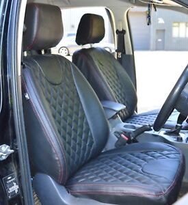 Ford Ranger Tailored Waterproof Diamond Quilted Black Leatherette Seat Covers