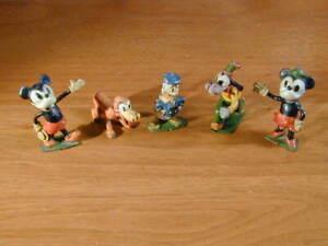 MICKEY MINNIE DONALD GOOFY PLUTO 1938 RARE BRITAINS 5 LEAD FIGURES SET # 1645
