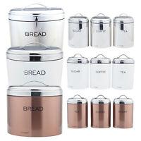 4 Pcs Stainless Steel Bread Bin & Sugar Tea Coffee Jar Set Food Loaf Storage Box