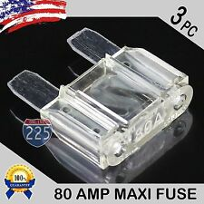 3 Pcs 80A AMP Platinum Plated Large Audio Blade MAXI Fuse 12V 24V 32V Auto RV US