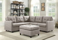 Linen Fabric Modern Sectional Sofa L-Shaped Couch Reversible Chaise Ottomans