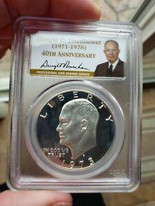 1973 S Silver Proof Eisenhower Dollar $1 PCGS PR69 DCAM QA
