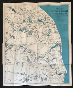 c.1930's Blake's Folding Map of the Rivers & Broads of Norfolk & Suffolk
