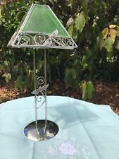 Stained Glass Dragonfly Design Tealight/Votive Chrome Stem Holder By Lareaux
