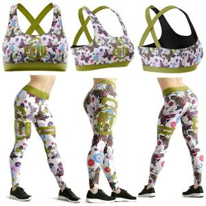 Ento Colourful Butterfly Women Gym Fitness Wear Yoga Legging Cross Back Bra Set