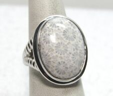 Fossilized Coral Bold Sterling Silver Ring  Size 5