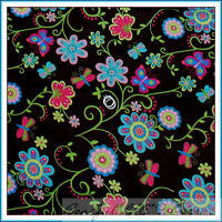 BonEful Fabric FQ Cotton Quilt Brown Flower Butterfly Pink Dot Green Leaf Calico