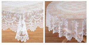 Elegant White Rose Lace Tablecloth, Delicate Lovely Sophisticated Table Patterns