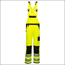Hi Vis Visible Portwest Bib & braces Contrast Coverall Overall Reflective Piping