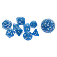 10x Multi Sides Playing Game Dice Home TRPG RPG Board Game Digital Dice Blue