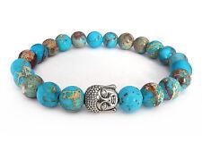 Handmade Semi Precious Stone Bracelet w/ Imperial Jasper Beads & Silver Buddha