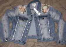 Joe's Jeans Girl's Floral Embroidery Frayed Denim Jean Jacket
