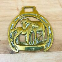 Vintage Horse Brass Horse and Foal Design