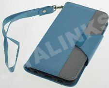 LIGHT BLUE 2 COLOUR FLIP WALLET CASE COVER FOR APPLE iPHONE 4 4S