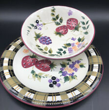 "Oneida Strawberry Plaid Vegetable Serving Bowl Handpainted 8"" And 10"" Plate"