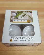 YANKEE CANDLE BOX OF 12 SCENTED TEA LIGHTS SEA SALT & SAGE NEW