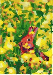 original painting A4 367BJ art samovar acrylic modern animal rabbit Signed 2021
