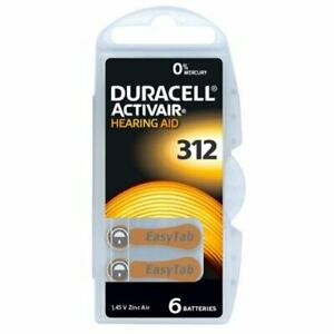 Duracell Activair Hearing Aid Batteries Size 312 -  BROWN 60 batteries in total