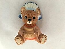 "Sitting Brown Homco 2 1/2"" Ceramic Bear With Full Feather Headdress Figurine"