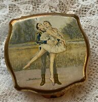 Stratton Baron Pill Box Ballet Compact Vintage 1960s 1970s English Signed Enamel
