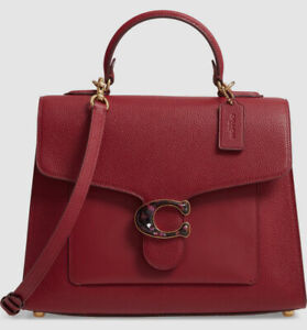 $685 Coach Women's Red Leather Purse Handbag Tote Shoulder Crossbody Hand Bag