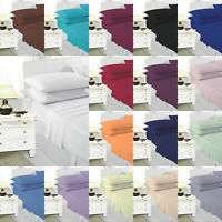 Plain Polycotton Flat Fitted Bed Sheet Pillow Case Bunk Single Double King Super