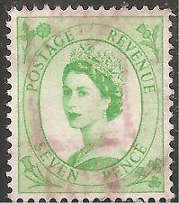 """Great Britain Stamp - Scott #301/A129 7p Emerald """"Elizabeth"""" Canc/Lh 1954"""