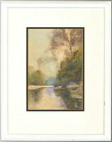 George H. Downing (1878-1940) - Watercolour, Tranquil River Landscape
