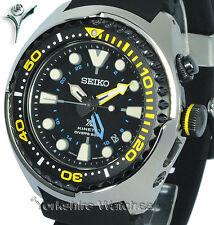 NEU Seiko PROSPEX KINETIC GMT Pro Divers Mit Silikon Schnallenriemen SUN021P1
