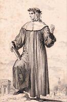 Portrait XIXe Pétrarque Francesco Petrarca Petrach Poète Humaniste Canzoniere