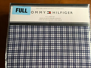 Tommy Hilfiger ~ Navy & White Plaid ~ Full Size Sheet Set ~ Cotton Blend ~ New