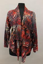 EXELLE PLUS VISCOSE BLEND VELVET TIED A LINE CARDIGAN JACKET RED Sm US 18 $300