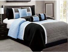 7 Piece Luxury Bed in Bag Comforter Set - 20617 Grey Navy Teal
