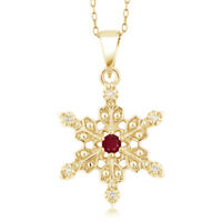 0.06 Ct Round Red Ruby 18K Yellow Gold Plated Silver Pendant With Chain