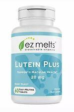 EZ Melts Lutein Plus w/ Zeaxanthin & Zinc, 20mg Vegan Sublingual Vitamins 60 ct.