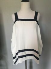 INC International Concepts Black White Cold Shoulder Top Small